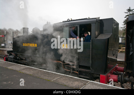 Steam Train On The Kent and East Sussex Railway England - Stock Photo