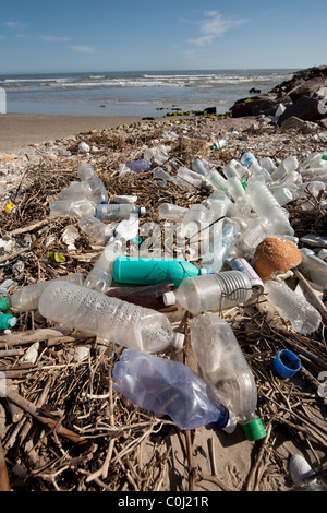 Plastic bottles litter the beach on an isolated part of South Padre Island on the Gulf of Mexico near Port Mansfield, - Stock Photo