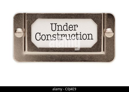 Under Construction File Drawer Label Isolated on a White Background. - Stock Photo