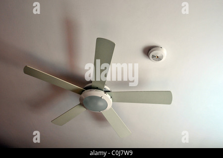 cealing smoke detector and ventilator on white background - Stock Photo