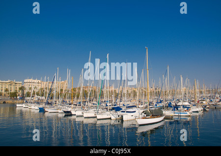 Sailing boats at Port Vell harbour central Barcelona Catalunya Spain Europe - Stock Photo