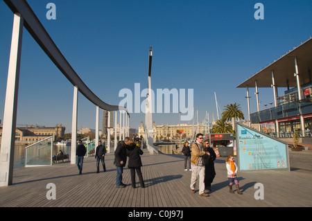 Rambla del Mar footpath at Port Vell central Barcelona Catalunya Spain Europe - Stock Photo