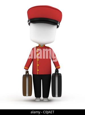 3D Illustration of a Bellboy Carrying Luggage - Stock Photo
