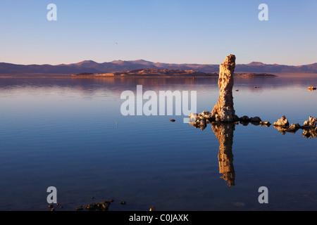 Fabulously beautiful Mono Lake with fantastic reef-Tufa. Sunset - Stock Photo