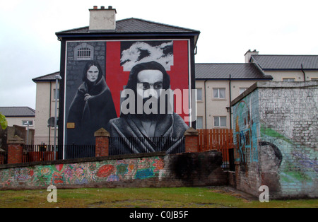 Mural in the Bogside depicting IRA  commemorating the blanket protests in the H-Block prison Long kesh or Maze - Stock Photo