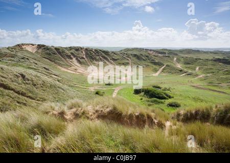 Tank Tracks on Braunton Burrows. Devon. England. UK. - Stock Photo