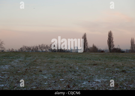 London skyline at twilight glimpsed from hill in Brockwell park - Stock Photo