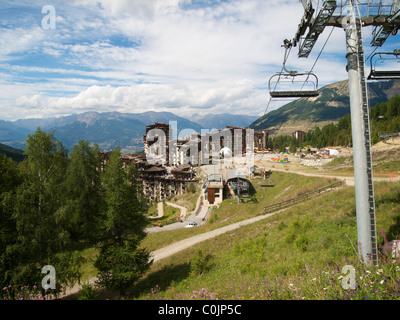Les Orres ski station in summer, Hautes Alpes French Alps, France - Stock Photo