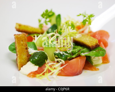 Beautiful lunch dish with smoked salmon close up. - Stock Photo