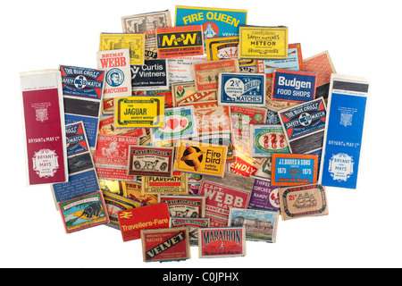 Pile of vintage matchbox front labels. EDITORIAL ONLY - Stock Photo