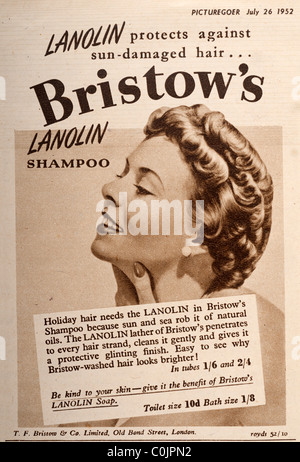 Advertisement from a 1952 magazine Picturegoer for Bristows Lanolin shampoo. EDITORIAL ONLY - Stock Photo