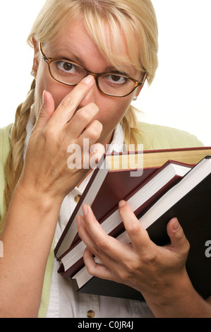 Nerdy Student Carrying Her Books Isolated on a White Background. - Stock Photo