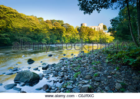 Barnard Castle and the River Tees, Teesdale, County Durham, England - Stock Photo