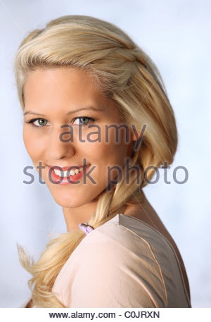 portrait of young blond woman - Stock Photo