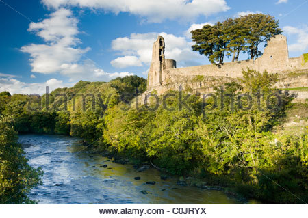 Barnard Castle and the River Tees, Teesdale, County Durham, England, UK. - Stock Photo