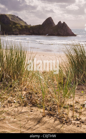Three Cliffs Bay on Gower, South Wales - Stock Photo