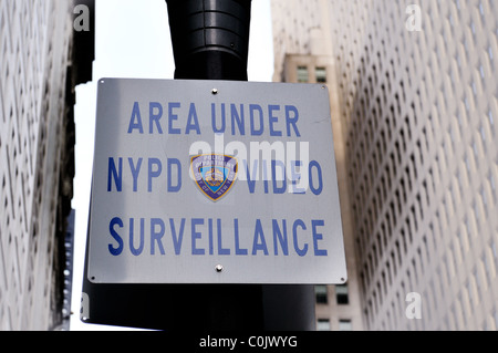 Area under NYPD video surveillance sign New York City - Stock Photo