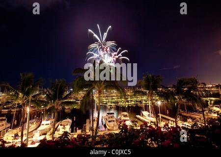 Fourth of July fireworks display, Ala Wai Yacht Harbor, Waikiki, Honolulu, Oahu, Hawaii - Stock Photo