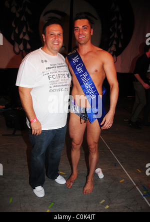 Winner John Caputo and his sponsor Joe Pesce Restaurant Philadelphia Mr. Gay 2008 Competition at the University - Stock Photo