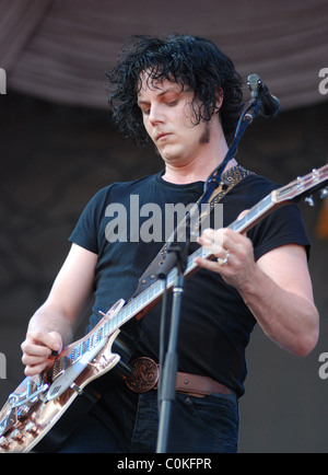 Jack White of The Raconteurs performing at the Bud Light Stage at Lollapalooza 2008 held at Grant Park - Day 1 Chicago, - Stock Photo
