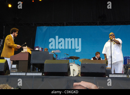 Danger Mouse and Cee-Lo of Gnarls Barkley performing at the AT&T Stage at Lollapalooza 2008 held at Grant Park Chicago, - Stock Photo