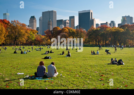 People Enjoying Sheep Meadow in Central Park, New York City - November 2010 - Stock Photo