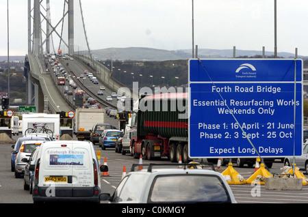 The Forth Road Bridge long traffic jam - Stock Photo