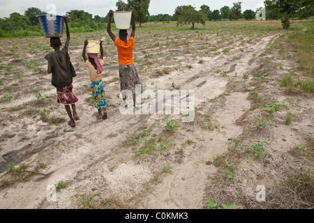 Girls bring water home from a well in Safo, Mali, West Africa. - Stock Photo