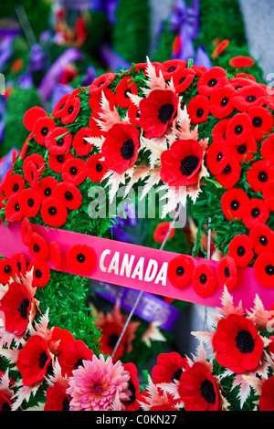 Memorial wreath for Canadian war dead - Stock Photo