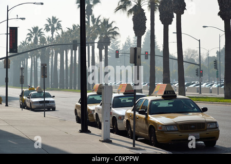 Cabs waiting for passengers in front of the San Jose Exhibition Center, California CA - Stock Photo