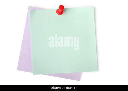 Blank paper notes with red pushpin isolated on white (with light shadow) - Stock Photo