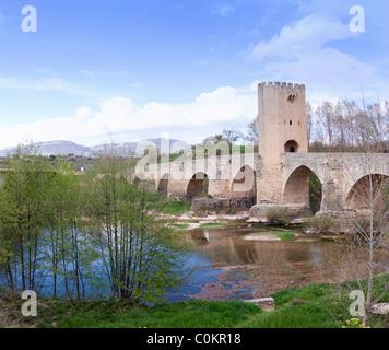 Roman-medieval bridge in Frias  (Burgos,Spain) - Stock Photo