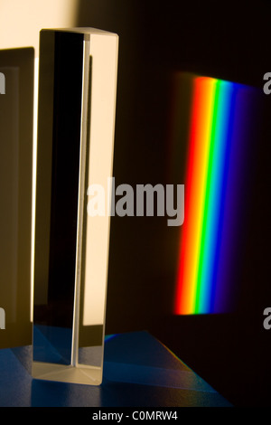 Light Spectrum Created by Sunlight Passing Through Glass Prism - Stock Photo