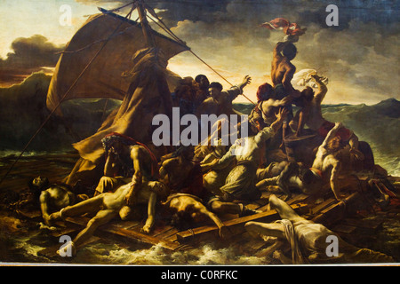 Painting of The Raft Of The Medusa in a museum, Musee Du Louvre, Paris, France - Stock Photo