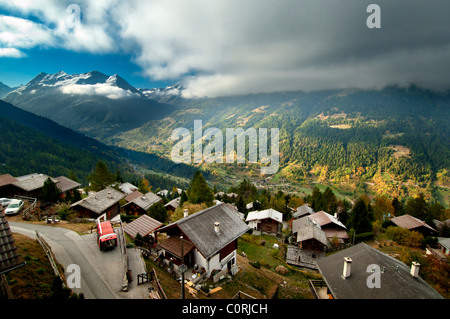 The village of St Luc and the Val d'Anniviers, Valais, Switzerland - Stock Photo