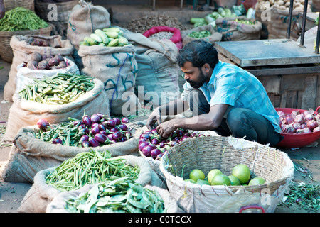 Vegetables for sale in Fort Cochin market, Kerala, India - Stock Photo