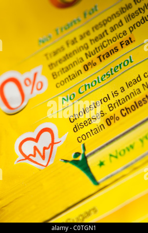 No cholesterol and no trans fats food advice on an indian food packet. India - Stock Photo