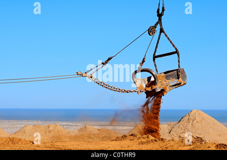 Bucket of a dragline excavator in a diamond mining, De Beers Namaqualand Mines, Kleinzee, Namaqualand, South Africa - Stock Photo