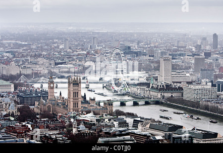 Aerial View of the City Of London, Greater London - Stock Photo