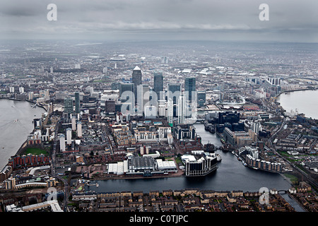 Aerial Shot of the Canary Wharf Estate in London, Greater London - Stock Photo