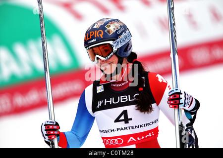 Dominique Gisin (SUI) at the FIS Alpine World Ski Championships 2011 in Garmisch-Partenkirchen - Stock Photo