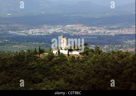 Arial view from the top of Temple de Sagrat Cor on the summit of Mount Tibidabo in Barcelona, Catalonia, Spain - Stock Photo