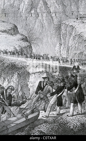 NAPOLEON CROSSING THE ALPS through the Great St Bernard Pass in May 1800 - Stock Photo