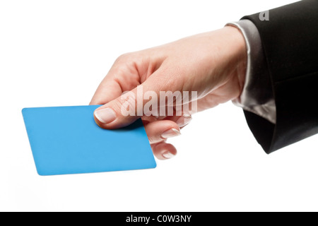 Credit card in a male hand isolated on white - Stock Photo