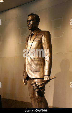 Bronze statue of the late former Texas lieutenant governor  Bob Bullock inside the Bob Bullock State History Museum - Stock Photo