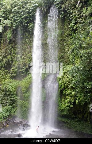 Sendang Gile and Tiu Kelep Waterfall Foot of Rinjani Mountain, Lombok, Indonesia - Stock Photo