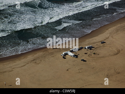 aerial view above mobile home RV camping beach central California - Stock Photo