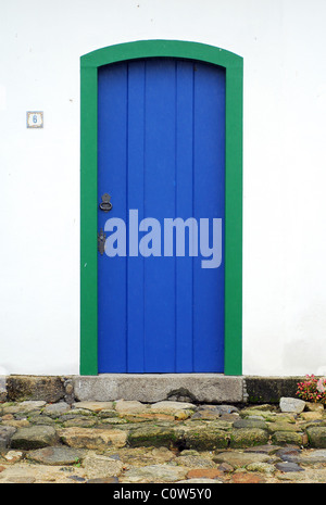 Street scene in the historic coastal town of Paraty in Rio de Janeiro state, Brazil - Stock Photo