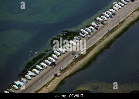 aerial view above mobile homes parked Gulf Coast Texas - Stock Photo