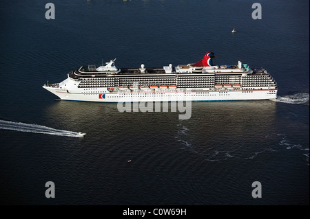 aerial view above Carnival Cruise Ship Spirit San Diego harbor California - Stock Photo